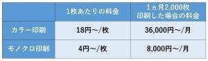 レンタルの場合、カラー印刷1枚に20円ほどかかります。